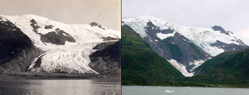 Two photos of the Toboggan Glacier, Alaska, showing the extent of landscape change from (left) 1909 to (right) 2000.