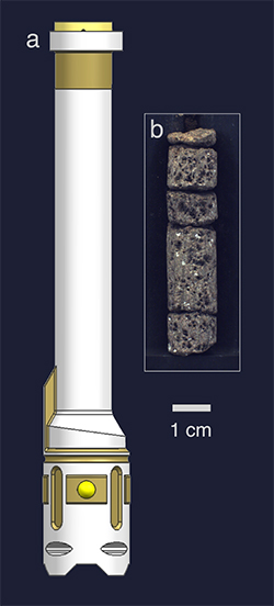 Sample tubes are mounted in a drill bit, and sample core material is introduced directly into the tube through an opening.
