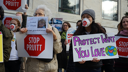 Protesters outside Dirksen Senate Office Building.