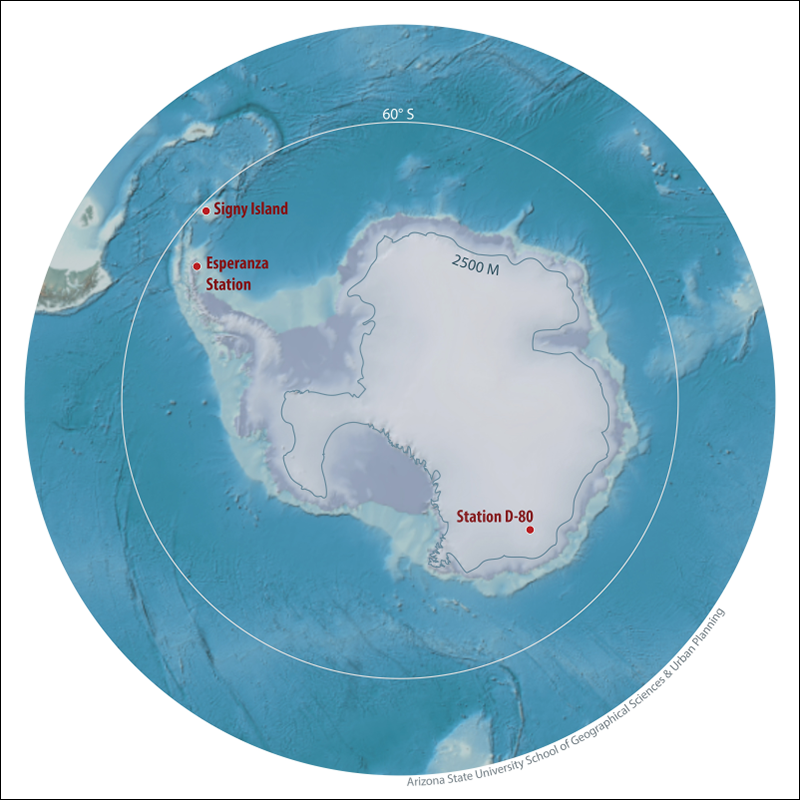 Images of Antarctica's research stations where record high temperatures were logged.