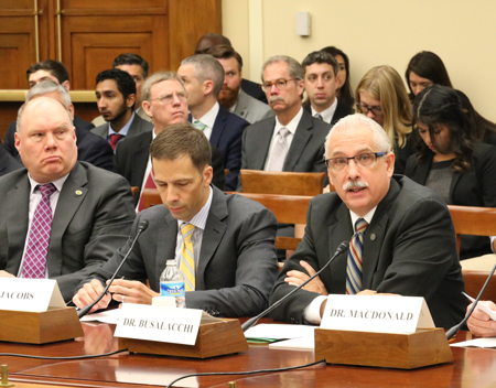 Tony Busalacchi (right) testified at an 18 June 2016 congressional hearing on private sector weather forecasting.