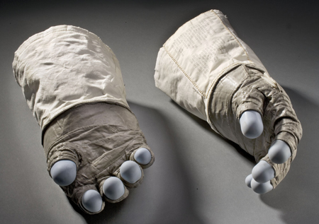 The gloves that Buzz Aldrin wore outside the lunar module.