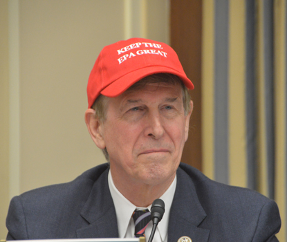 "At the hearing, U.S. Rep. Don Beyer donned a red baseball cap reading ""Keep the EPA Great."""