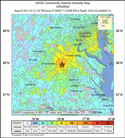 The map produced after a magnitude 5.8 earthquake in Virginia on 23 August 2011.