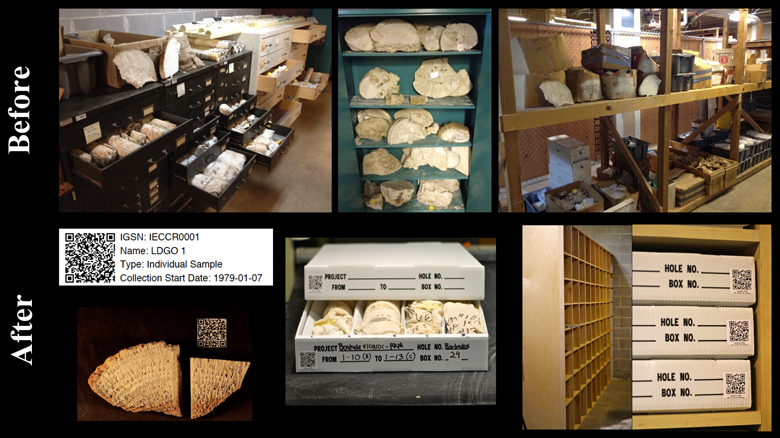 Lamont-Doherty Coral Core Repository at Columbia University before and after organizing coral samples in boxes.