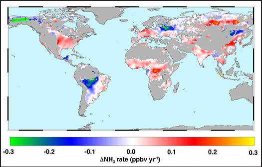 Global trends in atmospheric ammonia from 2002 to 2016.
