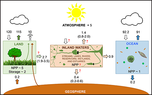 Diagram illustrating the central and critical role of inland waters in the modern global carbon cycle using recent data and models.