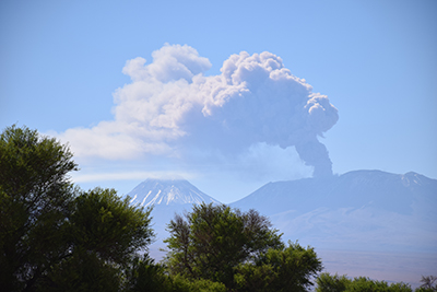 Ash plume from the Lascar volcano, Chile, October 2015.
