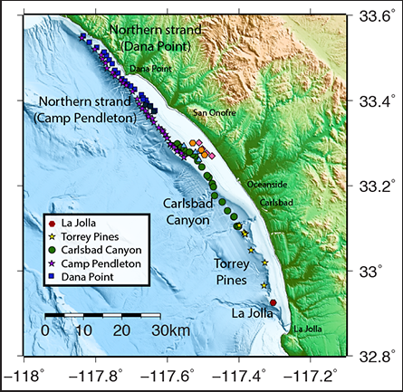 Locations of NIRC fault zone as observed in seismic profiles.