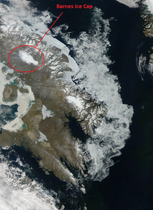 A map of the Barnes Ice Cap resting on Baffin Island, Canada.