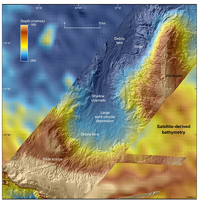 The differences in resolution between multibeam and satellite-derived bathymetry data for Broken Ridge are apparent here.