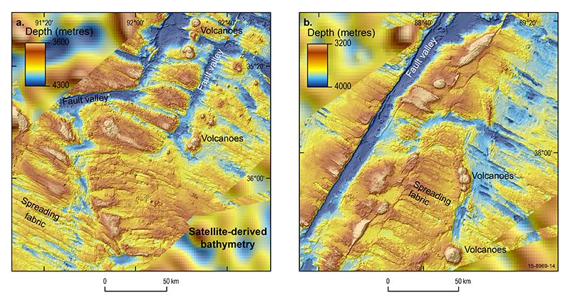 Bathymetry map of the ocean floor around the Geelvinck Fracture Zone in the Australian-Antarctic Basin south of Broken Ridge
