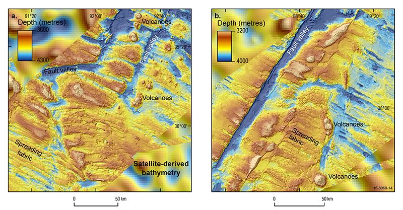 Bathymetry map of the ocean floor around the Geelvinck Fracture Zone in the Australian-Antarctic Basin south of Broken Ridge