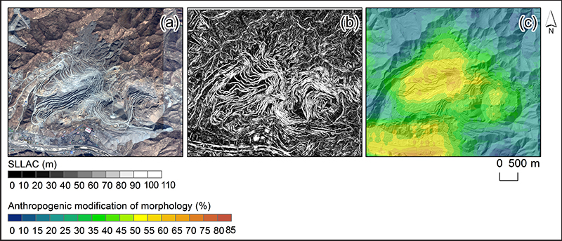 Could we detect from space human-made topographic signatures on landscapes? An open pit mine in North Korea.