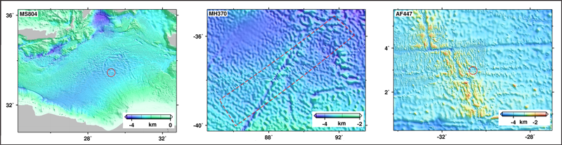 Search areas and ship tracks for the missing airplanes MS804, MH370 and AF447.