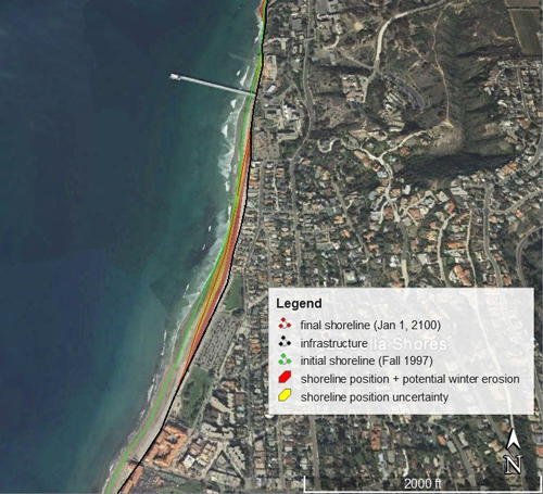 An example of the shoreline data for La Jolla Shores, used in the CoSMoS COAST model.