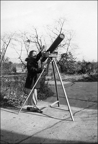 Vera Rubin with homemade telescope.