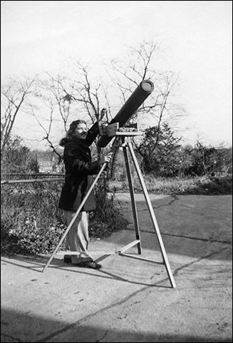 Vera Rubin with homemade telescope.