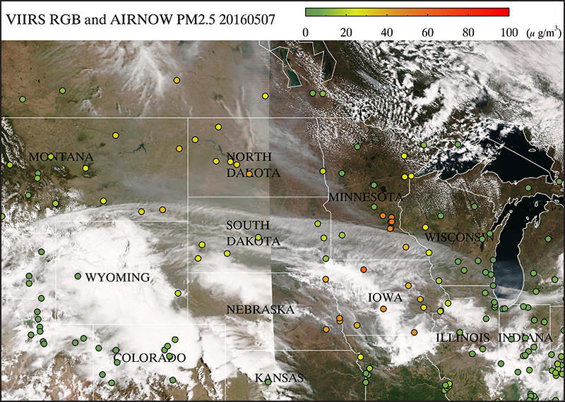eIDEA image for 7 May 2016 showing VIIRS true-color imagery overlaid with colored dots representing daily Air Quality Index values from U.S. EPA's AirNow network.