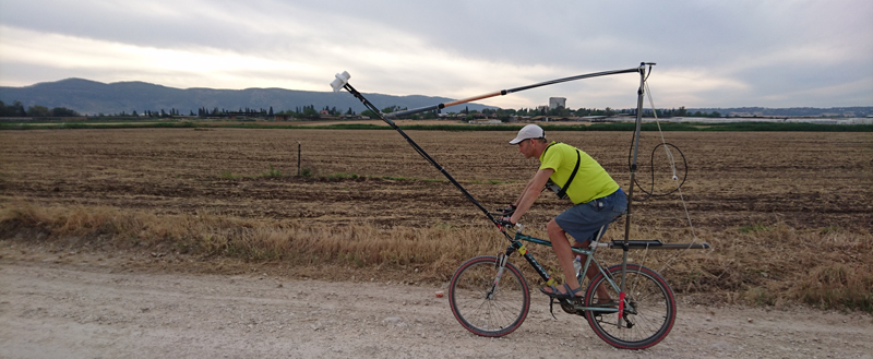 Uri Schattner rides the bike-mag system along a road in northern Israel.
