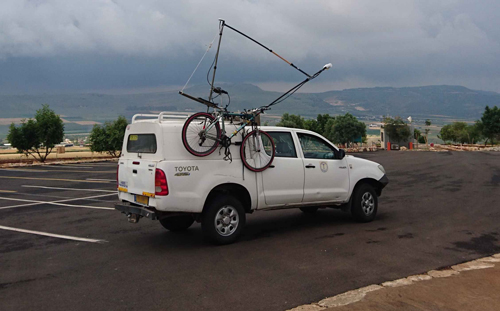 A Geological Survey of Israel vehicle carries the bike-mag system to the top of Mount Arbel in northern Israel.