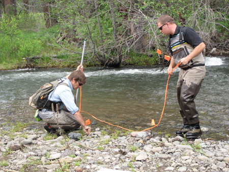 CHaMP staff collect data—bankfull elevation and site width category—used to describe their monitoring site.