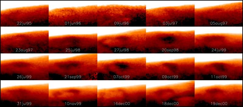 Image showing how the Great Cold Spot changes dramatically in shape and size on different days.
