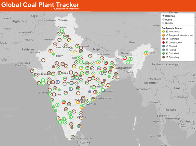 Map of where coal plants are operating or being built in India.