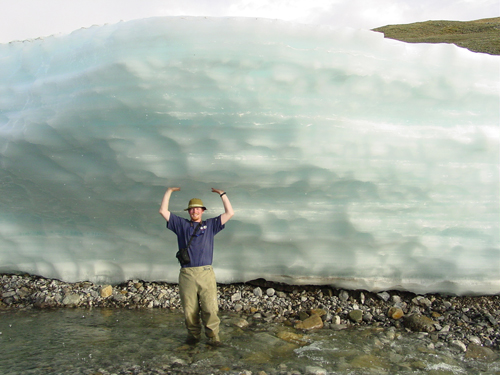 Jay Zarnetske explores river icings in Alaska in 2004.