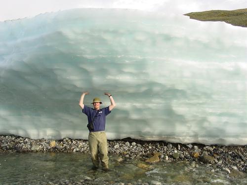 Jay Zarnetske explores river icings in Alaska in 2004.