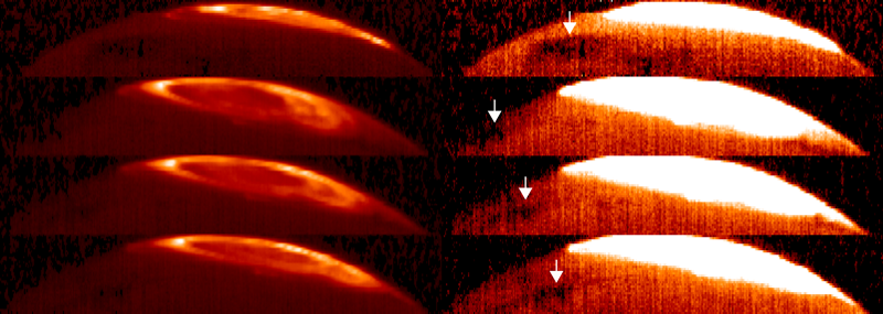 (left) Bright arcs of Jupiter's infrared aurora on two separate nights; (right) Great Cold Spot in saturated images.