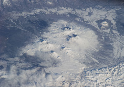 The Klyuchevskoy volcanic group in northeastern Russia, as seen from the International Space Station.