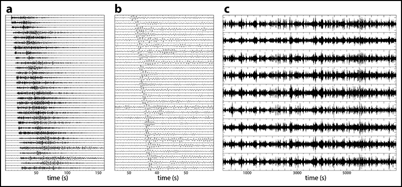 Seismic signals recorded by the KISS temporary stations.