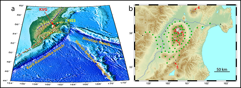 Locations of the KISS project seismic stations near active volcanoes in eastern Russia.