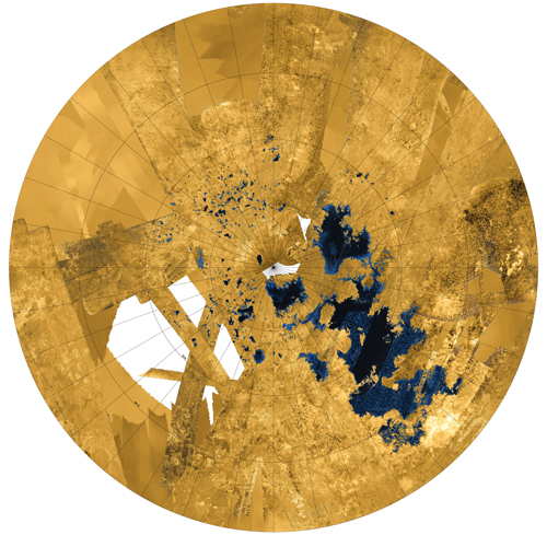 Titan northern lakes and seas.