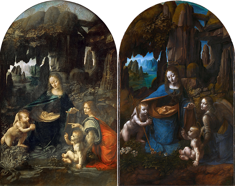 Two Virgin of the Rocks paintings attributed to Leonardo da Vinci.