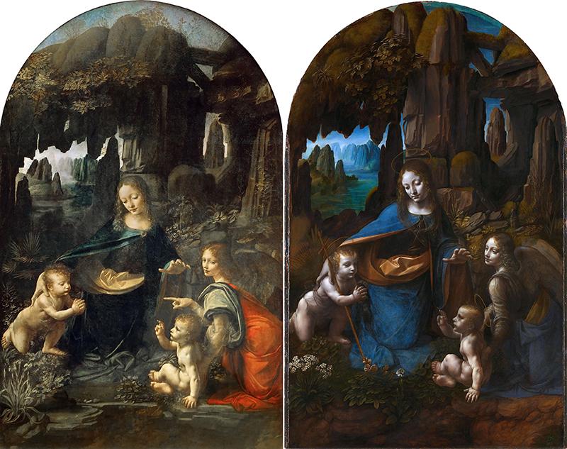 Two Virgin of the Rocks paintings attributed to Leonardo da Vinci.