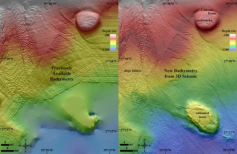 A section of continental slope in the NW Gulf of Mexico, using (left) the historic NOAA map and (right) the new BOEM map.