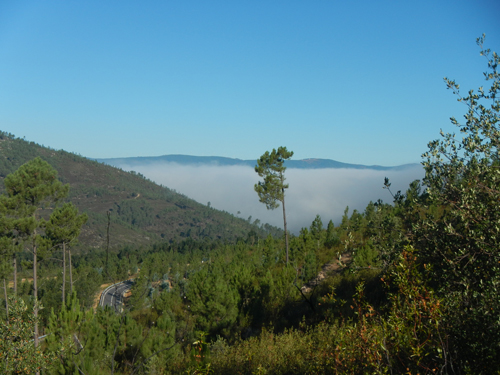 Fog develops in Vale Cobrão as researchers plan fieldwork for project with a broad aim of measuring wind energy over Europe.