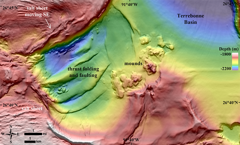 Gas expulsion mounds caused by salt tectonics in the southern Terrebonne Basin in the central Gulf of Mexico.
