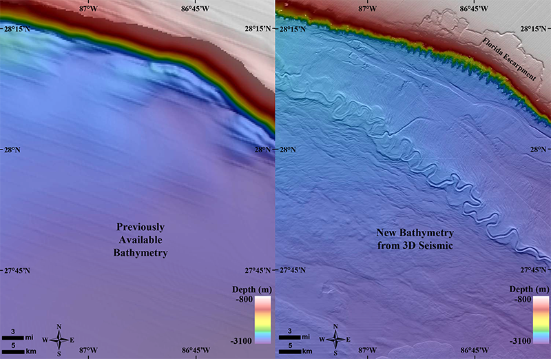 The Gulf of Mexico's Joshua Channel, seen with old data and BOEM's new map (made with oil industry data).