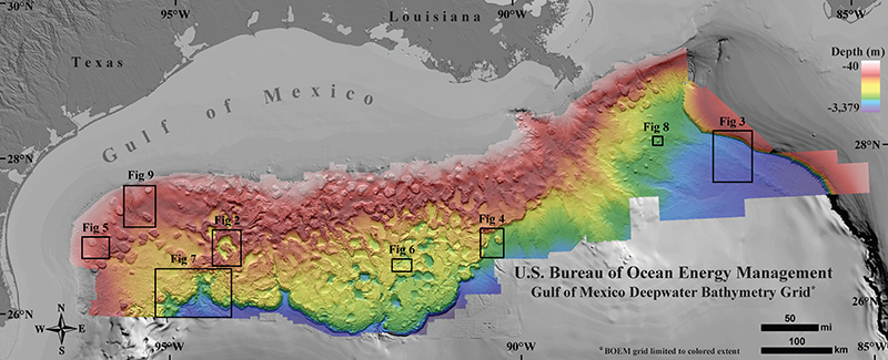map of the seafloor northern gulf of mexico deepwater bathymetry grid featuring salt tectonics made from the oil industrys