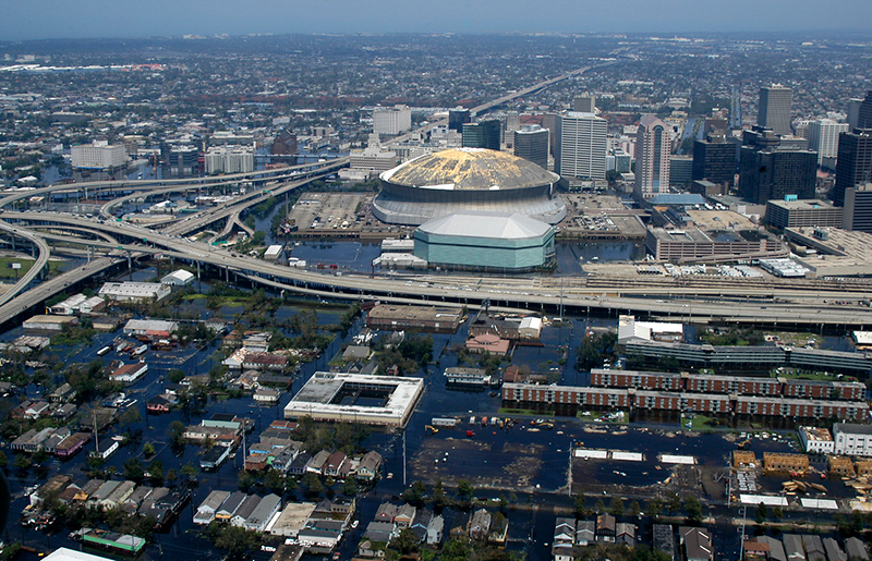 Aerial view showing rising flood waters threatening downtown New Orleans following 2005's Hurricane Katrina.
