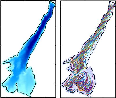 Lake Garda Depth (left) and modeled circulation (right).