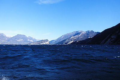 A view from the surface of Lake Garda.