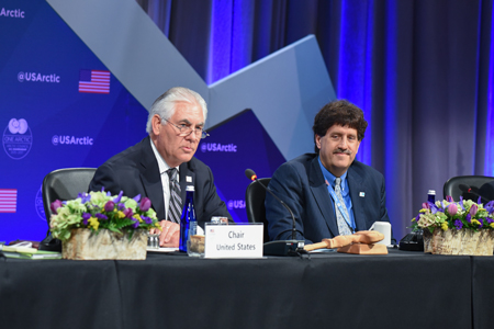 U.S. Secretary of State Rex Tillerson (left) chaired the Arctic Council's 11 May ministerial meeting in Fairbanks, Alaska.