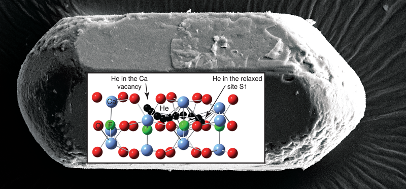 Superimposed on a micrograph of a fluorapatite crystal is a schematic showing a helium diffusion pathway through the crystal structure.