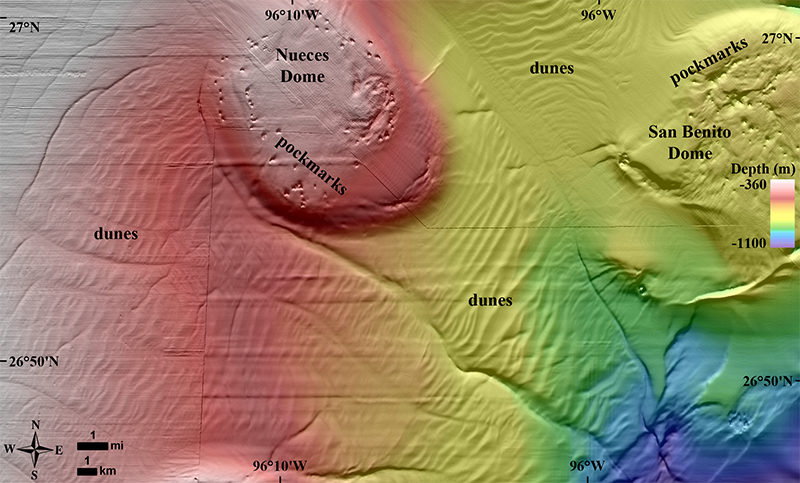 Subaqueous dunes and pockmarks on the upper continental slope in the NW Gulf, seen in a new map made with oil industry data.