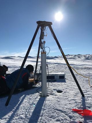 The WATSON instrument analyzes a drill hole, using fluorescence/Raman spectroscopy to detect organic molecules.
