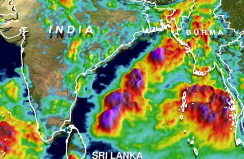 Total rainfall accumulation over South Asia from May 24 to June 1, 2017 using estimates from NASA's Integrated Multi-satellitE Retrievals for GPM (IMERG) data.